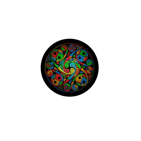 Celtic Stained Glass Spiral Mini Button