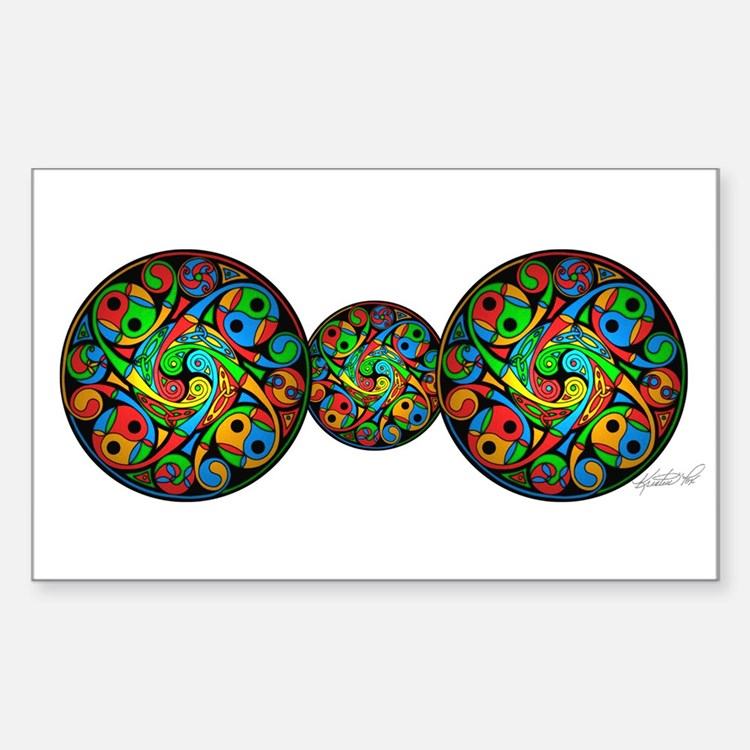 Celtic Stained Glass Spiral Rectangle Decal