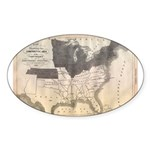 1861 Map Oval Sticker (10 pk)