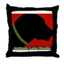 Black Lab Profile Throw Pillow W/Logo