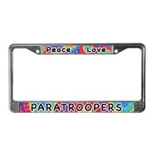 Peace Love Paratroopers License Plate Frame