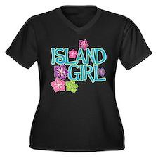 ISLAND GIRL Women's Plus Size V-Neck Dark T-Shirt