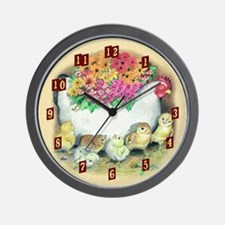 Pottery Hen With Chicks Wall Clock