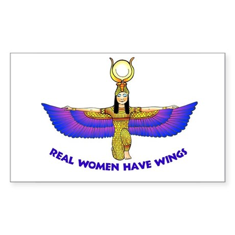 """Isis """"Real Women Have Wings"""" Rectangle Sticker"""