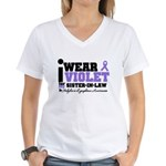 I Wear Violet Sister-in-Law Women's V-Neck T-Shirt