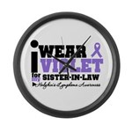 I Wear Violet Sister-in-Law Large Wall Clock