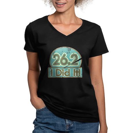 Retro Marathon Women's V-Neck Dark T-Shirt