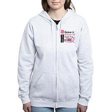 BELIEVE DREAM HOPE Breast Cancer Zip Hoodie