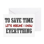 Just Assume I Know Everything Greeting Cards (Pk o