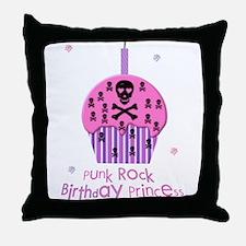 Punk Rock Birthday Princess Throw Pillow