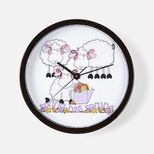 Spring Sheep Wall Clock