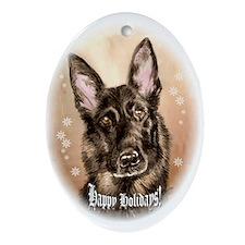 Black German Shepherd Oval Ornament