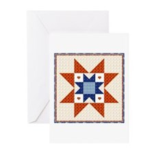 Heart Star Quilt Block Greeting Cards (Package of