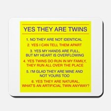 Twins Questions Fraternal Mousepad