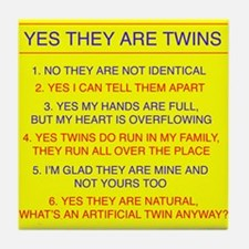 Twins Questions Fraternal Tile Coaster