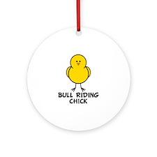 Bull Riding Chick Ornament (Round)