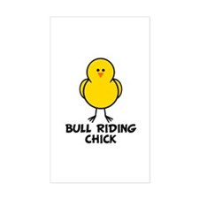 Bull Riding Chick Rectangle Decal