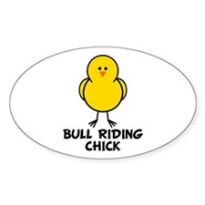 Bull Riding Chick Oval Decal