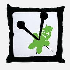 voodoo doll green Throw Pillow