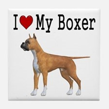 I Love My Boxer Tile Coaster