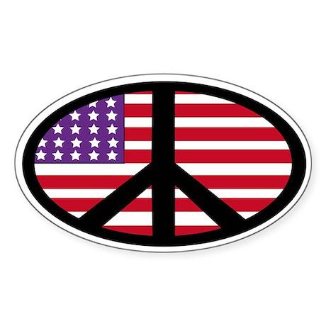 us flag peace Oval Sticker