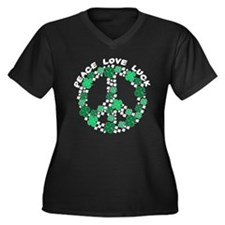 Peace Love Luck Women's Plus Size V-Neck Dark T-Sh