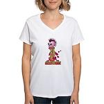 Girly Punk Rock Skull Women's V-Neck T-Shirt