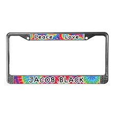 Peace Love Jacob Black License Plate Frame