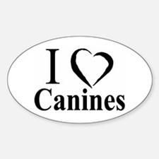 Canines (B&W) Oval Decal
