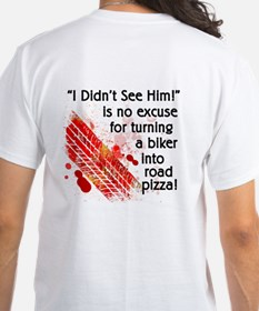 Mens Road Pizza White T-Printed On Back