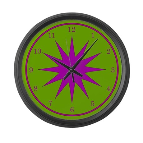 Purple and Green Large Wall Clock