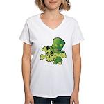 Skull & Shamrocks Women's V-Neck T-Shirt