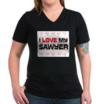 I Love My Sawyer Women's V-Neck Dark T-Shirt