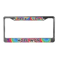 Peace Love Hope Won License Plate Frame