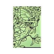Art Nouveau Green Faerie Rectangle Magnet
