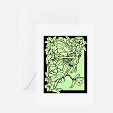 Art Nouveau Green Faerie Greeting Cards (Pk of 10)