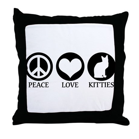 PEACE LOVE KITTIES Throw Pillow