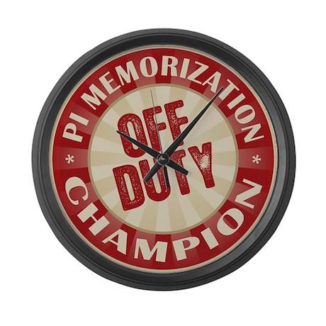 Off Duty Pi Memorization Champion Large Wall Clock