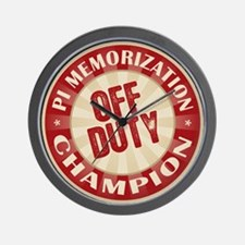 Off Duty Pi Memorization Champion Wall Clock