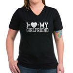 I Love My Girlfriend Women's V-Neck Dark T-Shirt