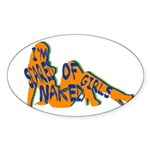 Neon Scared of Naked Girls Oval Sticker