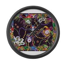 Cute Mardi gras Large Wall Clock