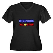 """Migraine All Star"" Women's Plus Size V-Neck Dark"