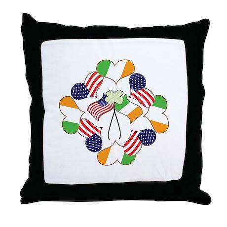 Patriotic Irish American Throw Pillow