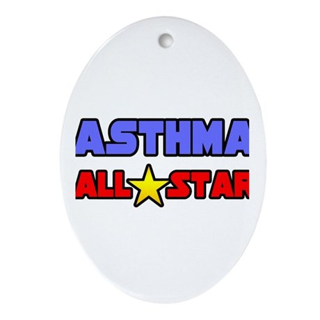 """Asthma All Star"" Oval Ornament"