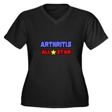 """""""Arthritis All Star"""" Women's Plus Size V-Neck Dark"""