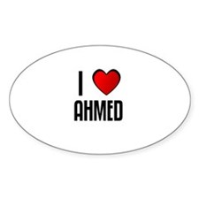 I LOVE AHMED Oval Decal