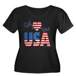 God Bless the USA Women's Plus Size Scoop Neck Dar