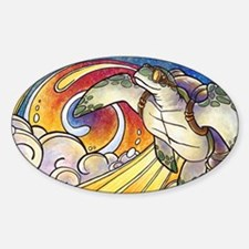 Space Turtle Surfs the Cosmos Oval Decal
