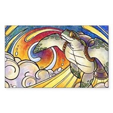 Space Turtle Surfs the Cosmos Rectangle Decal